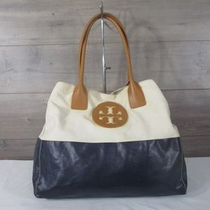 Tory Burch Navy White Canvas Leather Tote